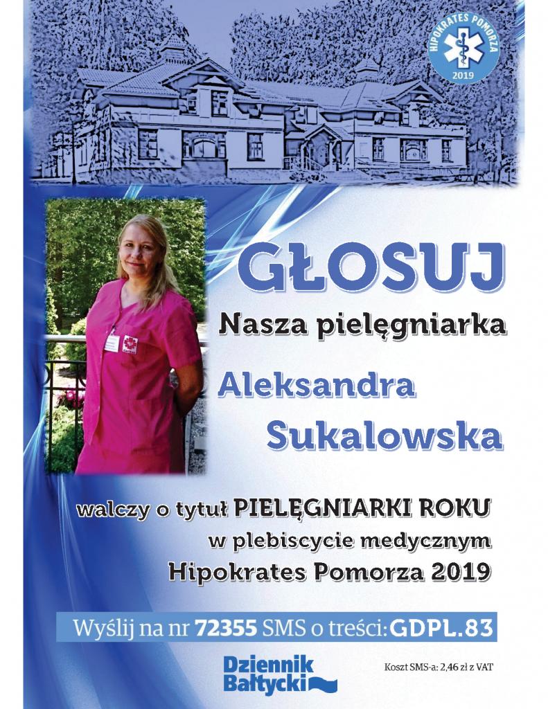 Ola Sukalowska nominacja w plebiscycie Hipokrates 2019 na pielęgniarka roku. Można głosować wysyłając sms o treści: GDPL.83 (DUŻE LITERY) na nr. 72355